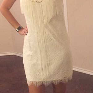 Bebe white lace fringe dress S Small